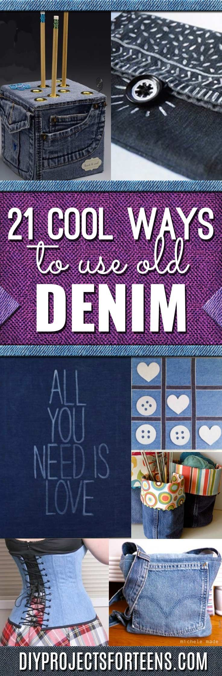 Sewing crafts for teens - 21 Awesome Ways To Use Old Denim Jeans Fun Crafts For Teensdiy