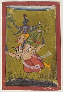 Vishnu swoops down from heaven on an eagle named Garuda, who has four arms in this image, two of which hold vessels that probably contain the nectar of immortality.