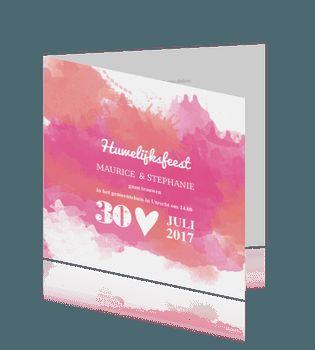 Aquarel huwelijkskaart met roze en zalm. #aquarel #trouwkaarten