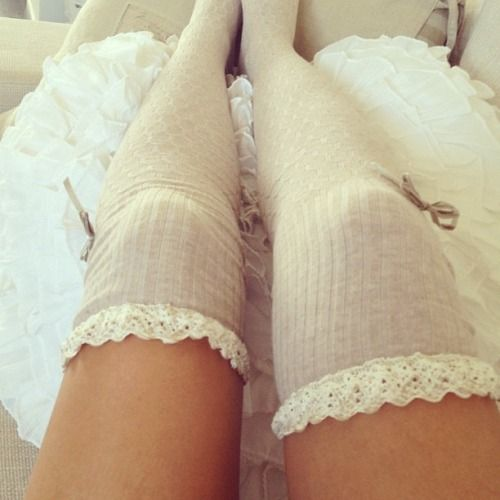 over the knee frilly socks: