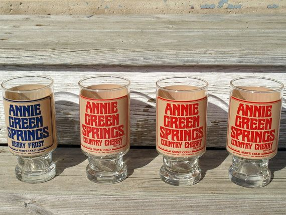 Vintage Glasses Set of Four Annie Green Springs | Green ...