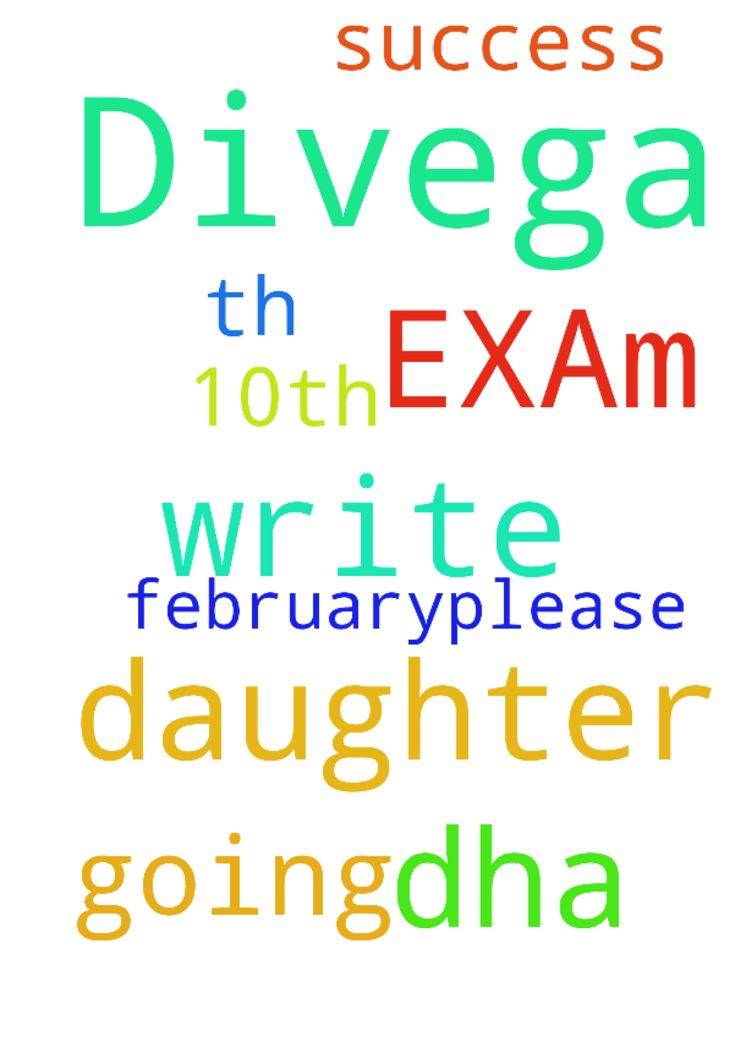 My daughter Divega is going to write DHA EXAm on 10th - My daughter Divega is going to write DHA EXAm on 10th February.please pray for her success Posted at: https://prayerrequest.com/t/upH #pray #prayer #request #prayerrequest