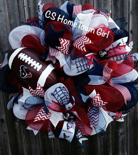What a great way to show your support for your team! This Houston Texans wreath has red, blue and white deco mesh, along with many coordinating