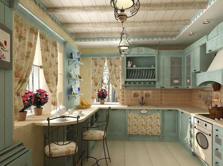 шторы в стиле прованс для комнаты в мятном цвете