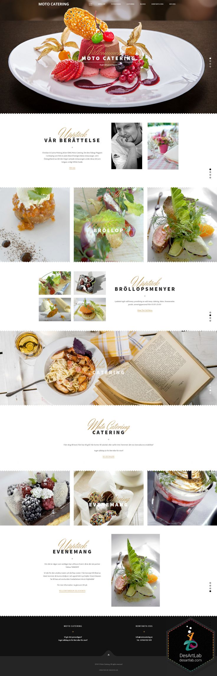 One Page Website Design Inspirational - Moto Catering. A turnkey business card website for Swedish catering company. The main requirements were for the website to be modern-looking, to possess intuitive UI and overall elegant design. #UI #sitedesign