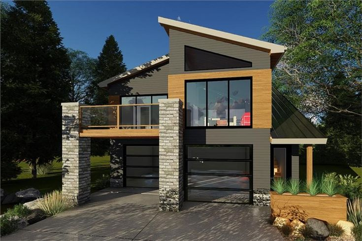 Contemporary garage with apartment house plan