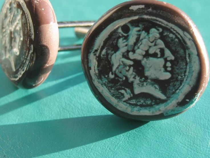 Alexander the Great BIG handmade Clay Cuff Links unique item