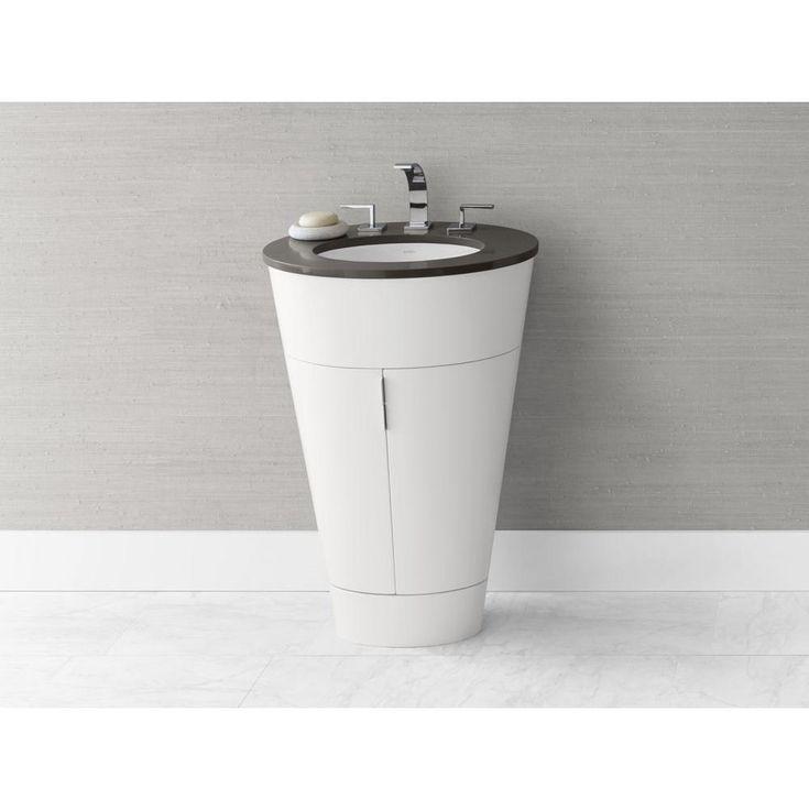 Image On Single Oval Bathroom Vanity Set with Marble Top