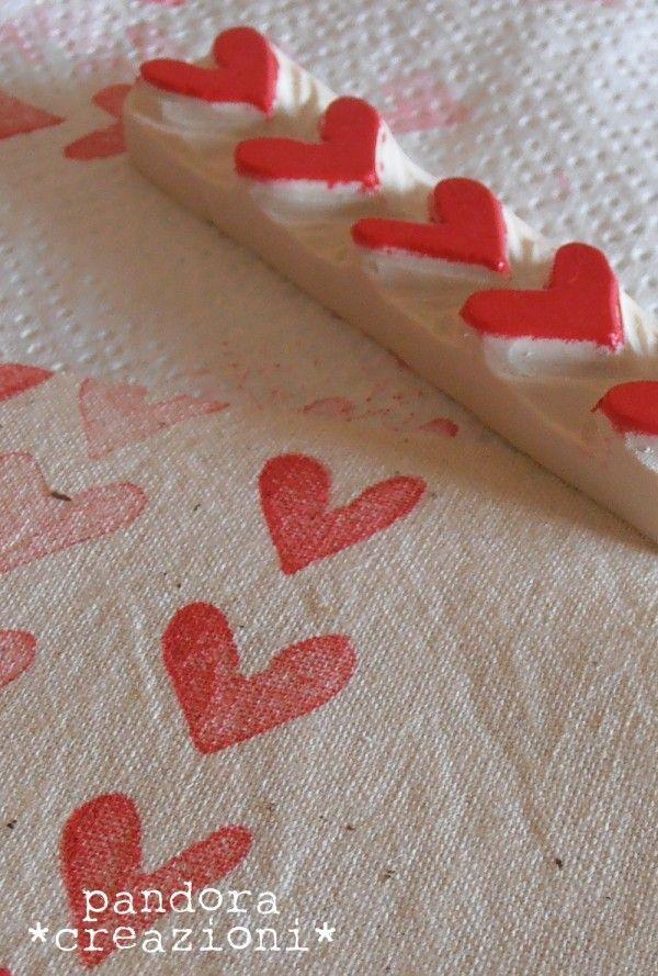 pandora's fabric - timbri cuore #fabric #stamp