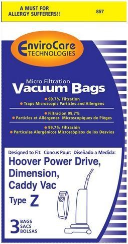 #Hoover Vacuum Type Z #Replacement Vacuum Bags - Fits: Hoover Power Drive, Dimension and Caddy Vac - Microfiltration with Closure - 3 Bags per Package - by Enviro...