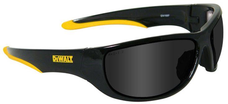 Dewalt dominator safety glasses with black frame and smoke