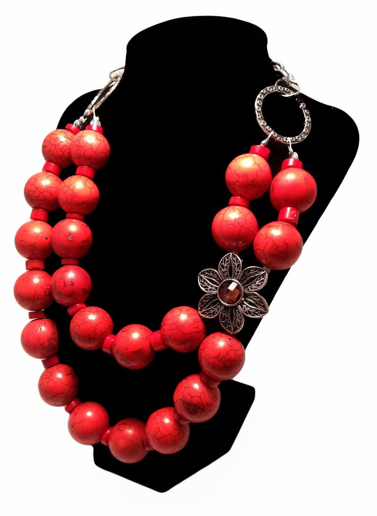 VINTAGE STATEMENT NECKLACE, Gemstone, Coral, Necklace, Red, Broach, Bold, Flower, Chunky, Genuine, Sparkle, Jewelry by Jessica Theresa.