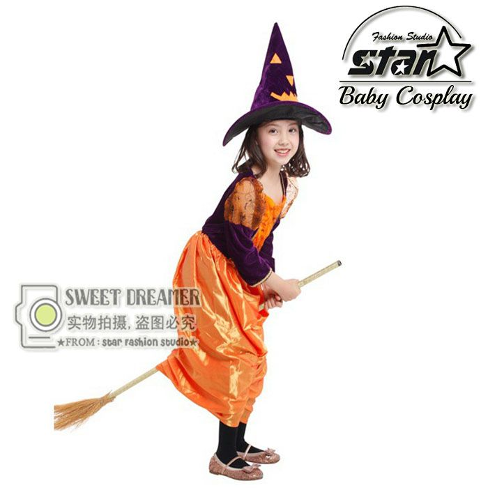 ==> [Free Shipping] Buy Best Halloween Cosplay Costumes for Girls Pumpkin Witches Dress Kids Masquerade Fancy Dress Children Carnival Clothes with Hat Online with LOWEST Price | 32714922596
