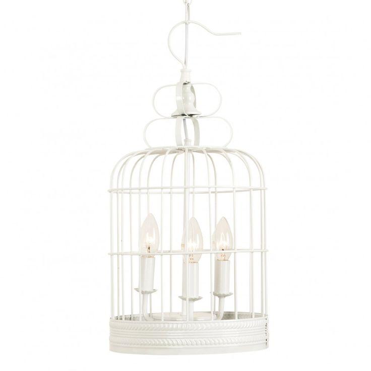 White Bird Cage Chandelier