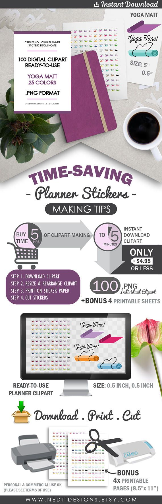 Yoga Mat Clipart for DIY Planner Stickers Stretching Time