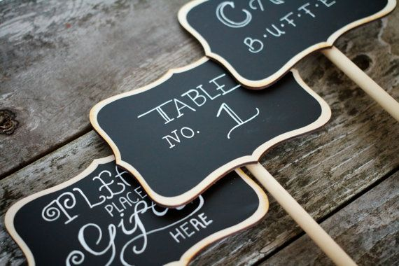 20 Wedding Chalkboard Table Stands Audrey Design for Weddings Table Numbers Candy Bar Food Marker Rustic Chalkboards Centerpiece Chalk Sign