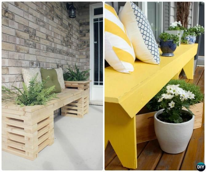 Front Porch Bench Planter-20 DIY Porch Decorating Ideas Projects