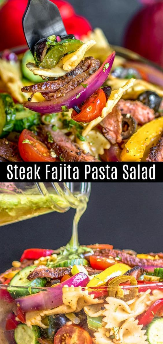 Dieser Steak-Fajita-Nudelsalat ist eine einfache Mischung aus zartem St …   – salads