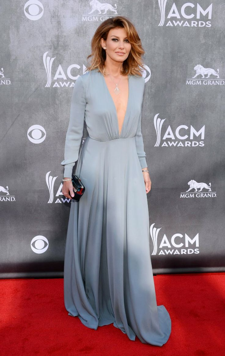 Faith Hill in a v-neck Saint Laurent gown at the 2014 ACM