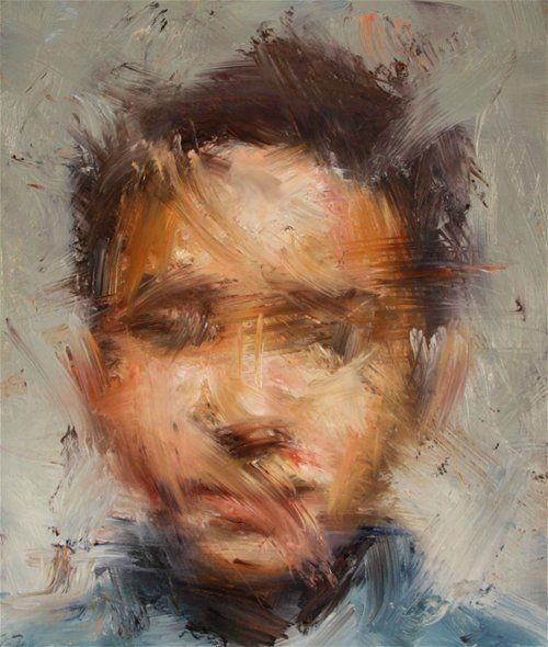 Artist: Paul Wright {contemporary male head man face smudge abstract painting} Squint !! More: http://www.paul-wright.com