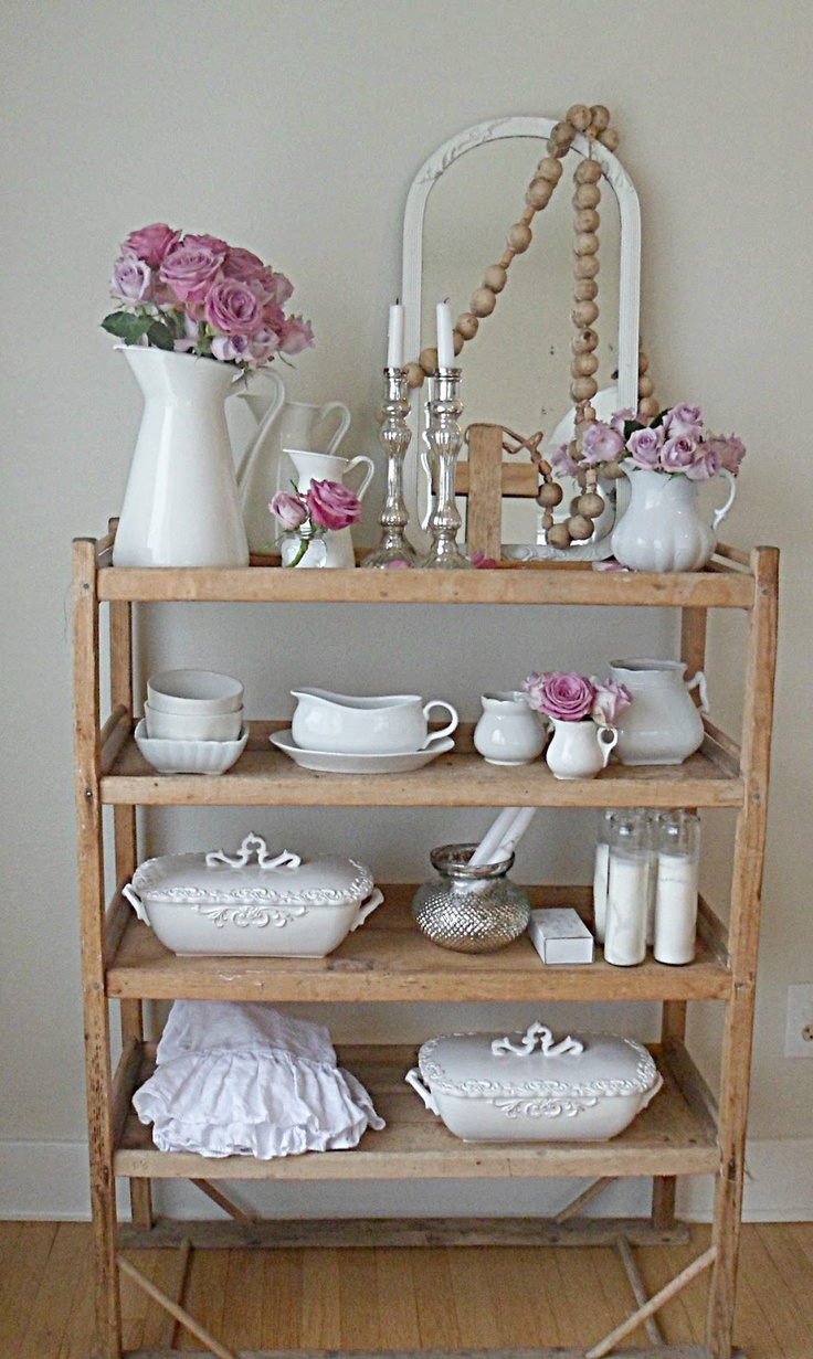 re-use nates wooden shelf just like this one I love Rachel's home  'Shabby french for me'