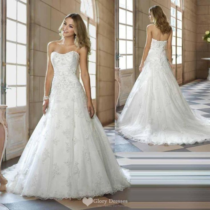 Perfect Find More Wedding Dresses Information about Cheap Elegant A Line Lace Strapless Wedding Dress Sweetheart Lace Up Sleeveless Bridal Gown Custom Size and