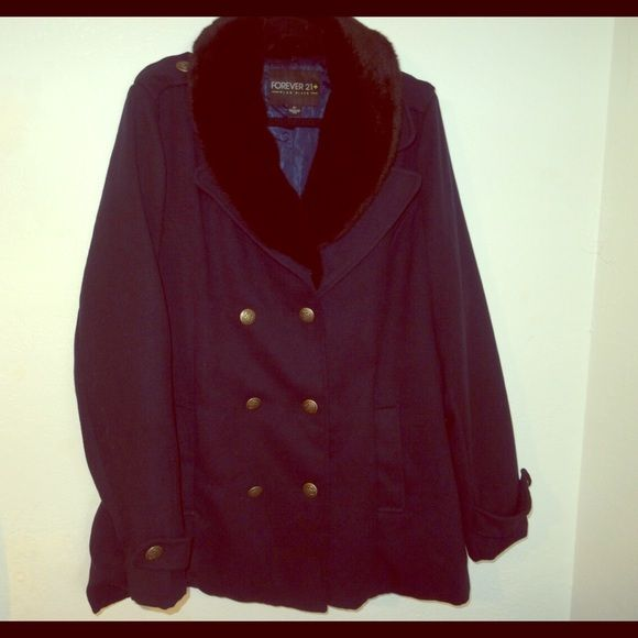 Navy Blue Plus size Peacoat Brand new, tried on at home. In perfect condition Forever 21 Jackets & Coats Pea Coats