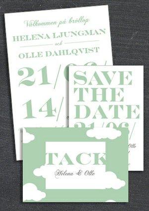 """PAKET: """"WHEN I FALL IN LOVE"""" GRÖN; SAVE THE DATE, INBJUDAN & TACKKORT (VÄRDE 507 SEK)"""