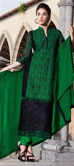433538, Party Wear Salwar Kameez, Georgette, Bemberg, Thread, Lace, Machine Embroidery, Resham, Black and Grey, Green Color Family