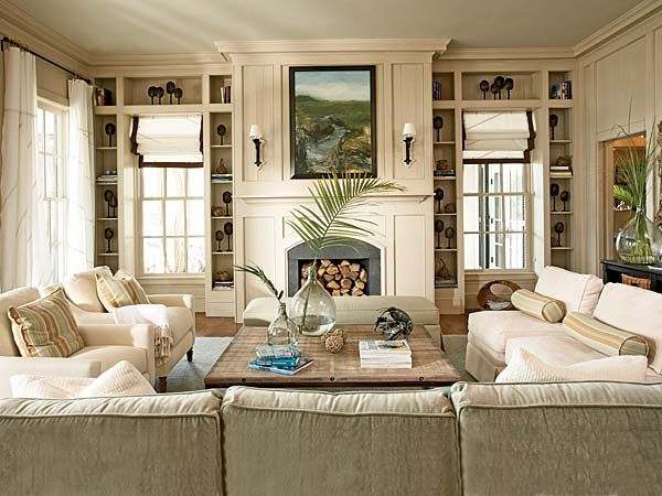 Family Room, Living Room, White, Classic, Comfortable, Millwork, Fireplace, Bookcases, Panelling