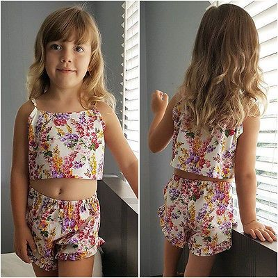 Floral Baby Girl Clothes Set 2017 Summer Toddler Kids Crop Tops Tank +Hot Pants Shorts 2PCS Outifts Children Girls Clothing Set #Affiliate