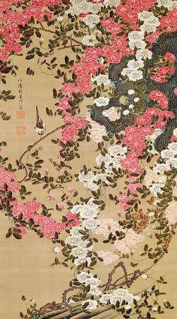 伊藤若冲《薔薇小禽図》