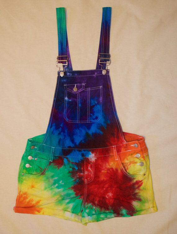 Tie Dye Overall Shorts by HypnoticTieDyes on Etsy