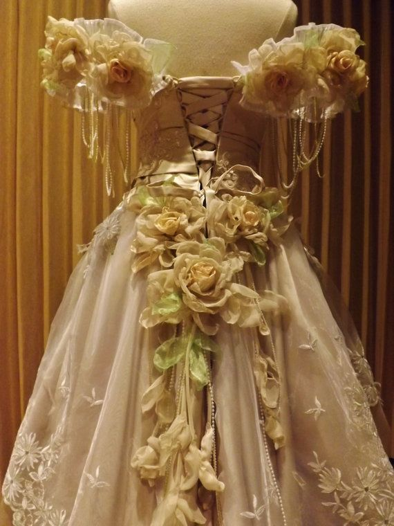 CUSTOM Victorian Champagne Satin Tulle Of Shoulder by Arabescque, $1499.99