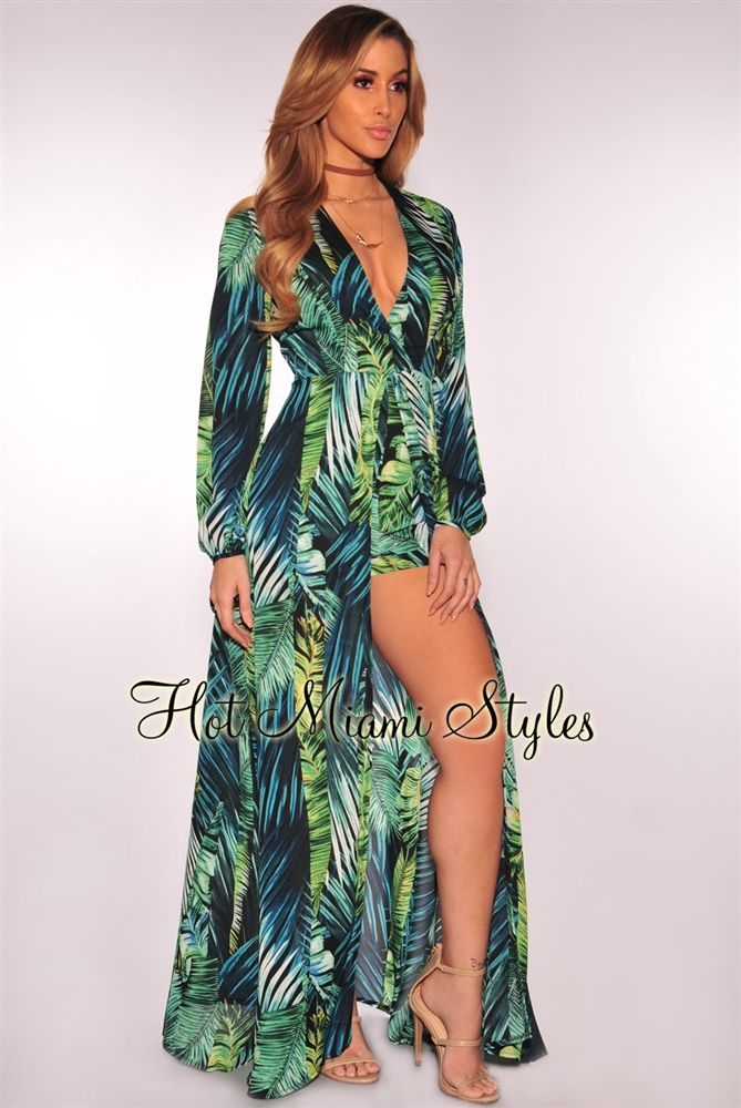 Palm Print Long Sleeves Maxi Romper. Palm Print Long Sleeves Maxi Romper Clubbing  Outfits Nightclub c9a7680483de