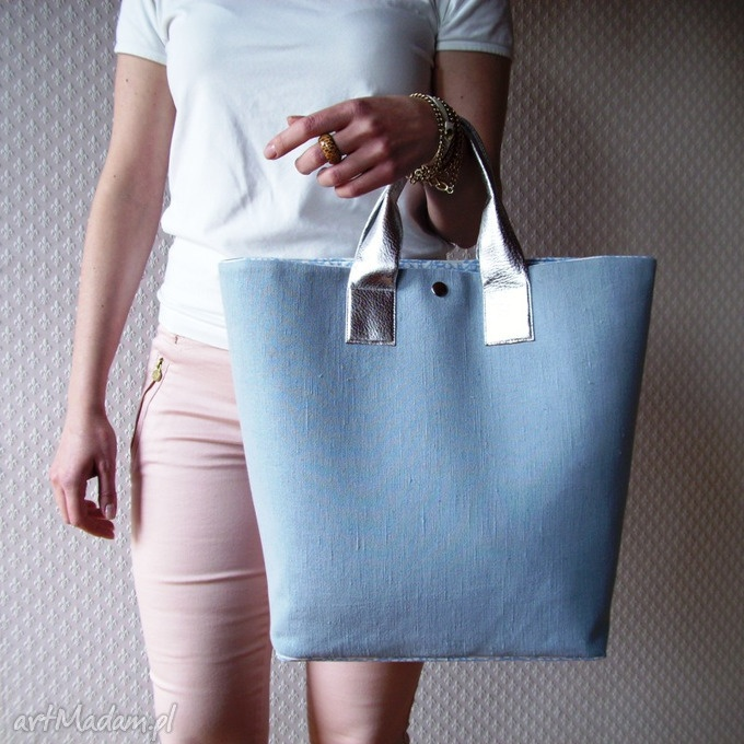 Shopper Bag Pastelowa Torba XL Skóra Metalik. $53
