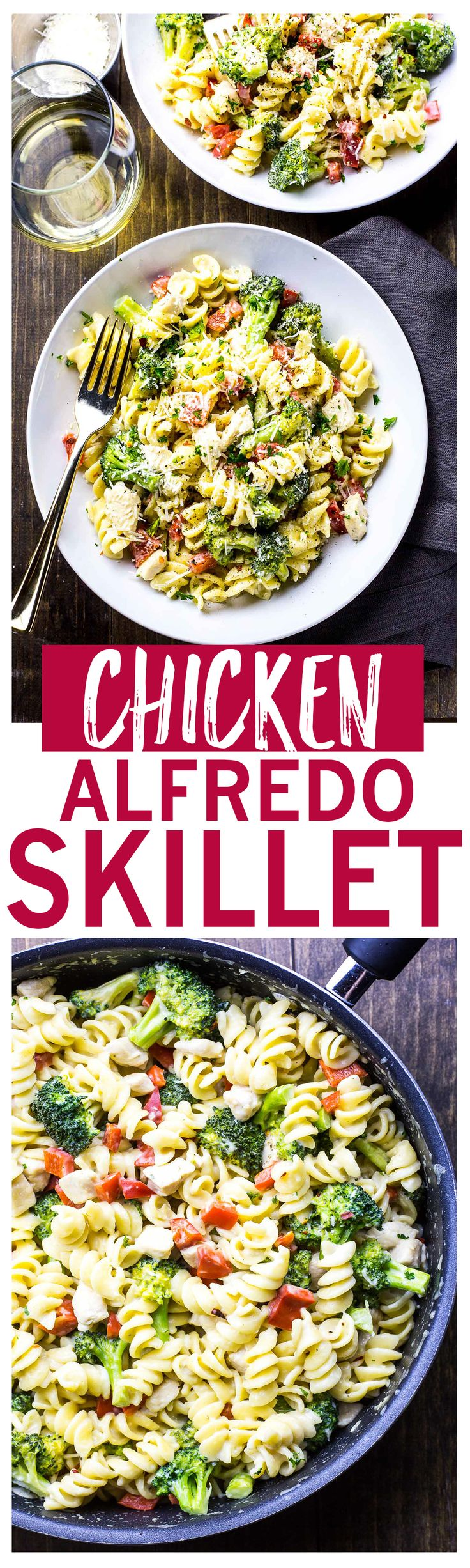 40-Minute Broccoli Chicken Alfredo Skillet with a lighter, healthier alfredo sauce.