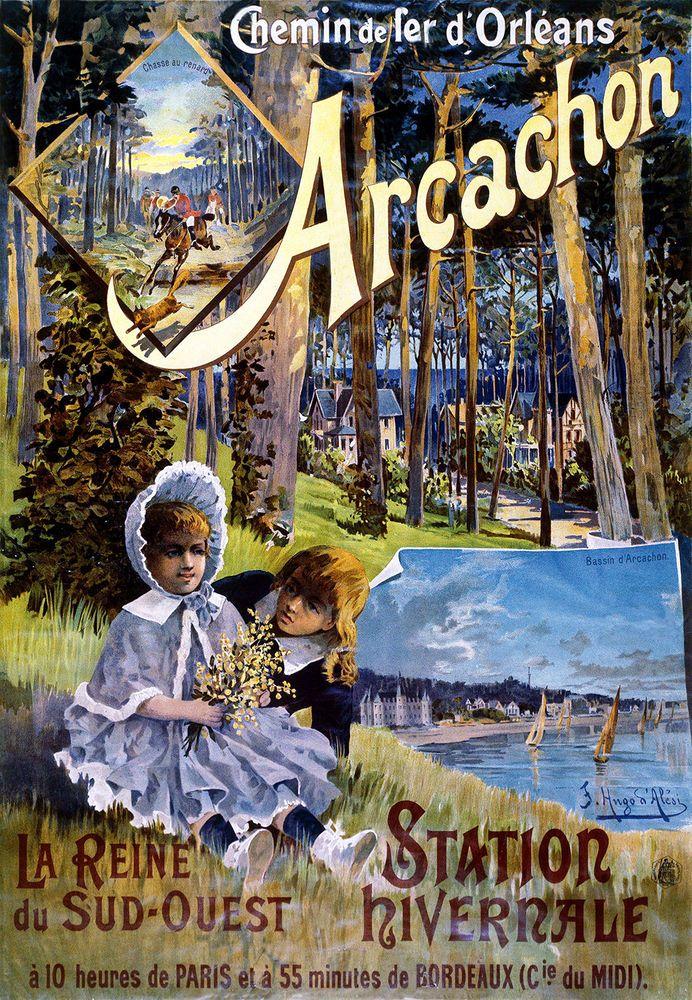 Affiche chemin de fer d'orléans - Arcachon - illustration de Hugo d'Alesi - France -