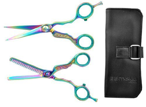 """COMBO SET Thinning Styling Shears 5.5"""" Salon Scissors Titanium Barber Cutting by Salon Supply Store. $52.95. Japenese Stainless Steel. Diamond adjustment. Makes styling a breeze. Lightweight design. Ideal for any professional stylist. This fantastic Misaki 5.5"""" Titanium Multi-Colored Shears set boasts a 61 Rockwell Hardness and 440C Japanese Stainless Steel with offsethandledesign. Silky smooth operation and Clicker Tension Adjustmentwith dial. Comes with thinning ..."""