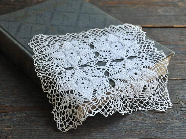 Vintage hand crocheted doily, small white lace tablecloth by coloursofvintage on Etsy