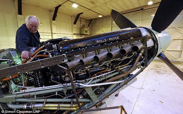 Painstaking work: The Spitfire has a fully rebuilt Rolls-Royce Merlin engine