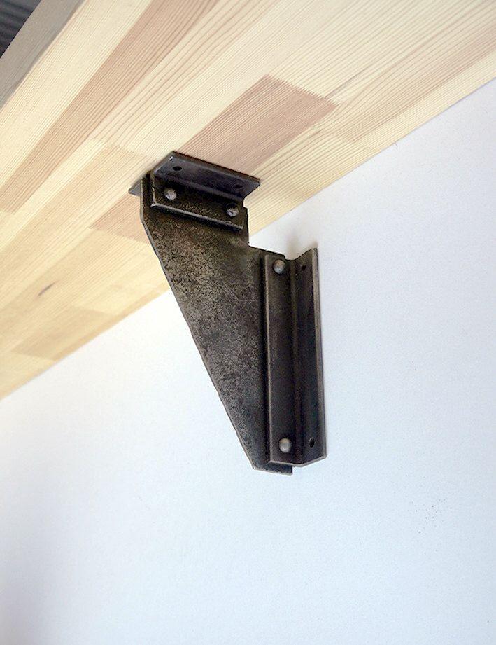 Heavy duty rustic hand forged shelf bracket, corbel, steel shelf bracket, industrial style by BlacksmithArts on Etsy https://www.etsy.com/listing/238931505/heavy-duty-rustic-hand-forged-shelf