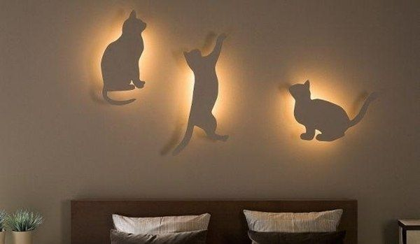 Очаровательные светильники для спальни в виде кошек