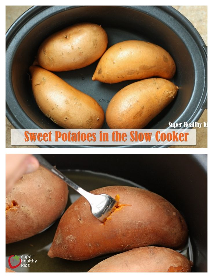 Sweet Potatoes in the Slow Cooker.  By far the best and easiest way tot cook these.  They turn out so soft with the creamiest texture you will ever eat. mmmm.  www.superhealthykids.com