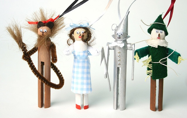 Wizard Of Oz Clothespin People Ornaments...so these are really dorky and I would never buy them, but they ARE a little cute. :)