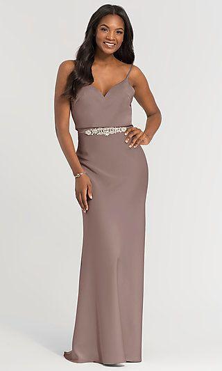 345d763958 V-Neck Beaded-Waist Long Kleinfeld Bridesmaid Dress  Limited Availability