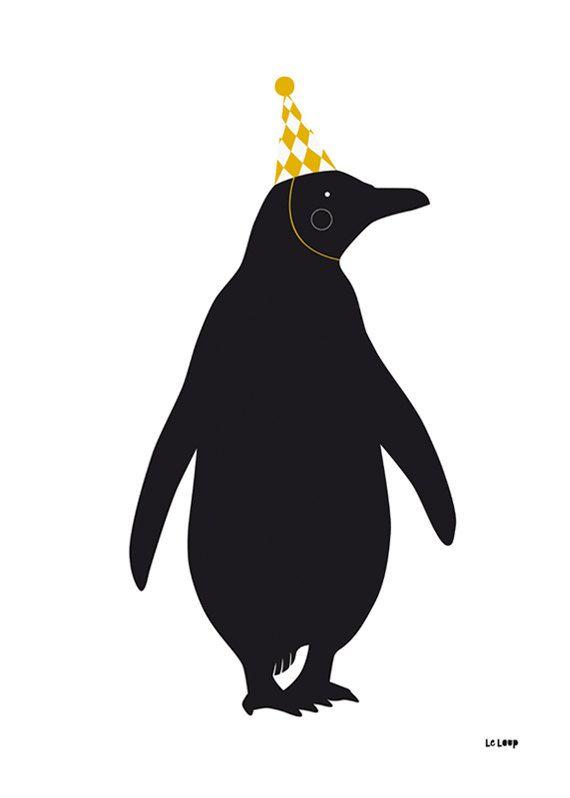 Le Pingouin Poster - El Pingüino A2 / Negro & Mustard by Le Loup Studio and Alessandra Veliz.
