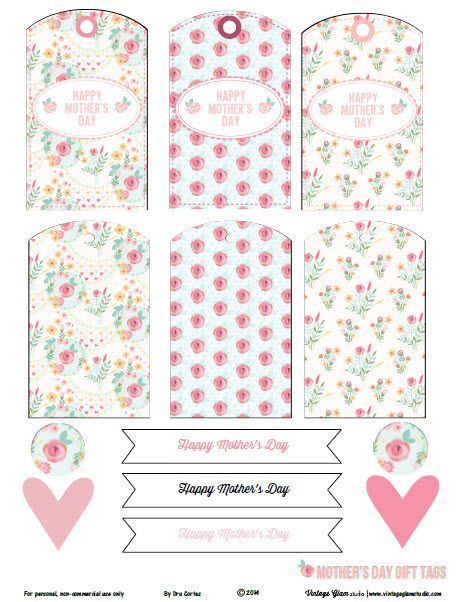 Free Printable Download - Floral Mother's Day Gift Tags - Vintage Glam Studio-For Personal Use only. There are 13 elements , 6 gift tags and some labels. Use for journaling, smash books, art journals and memory keepers. VisitSite: http://www.vintageglamstudio.com/2013/06/18/free-printable-download-shabby-chic-floral-journaling-elements/?relatedposts_to=2167&relatedposts_order=2
