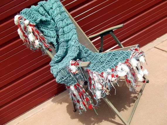 Broomstick crochet; in love with the blue and red-orange pairing.