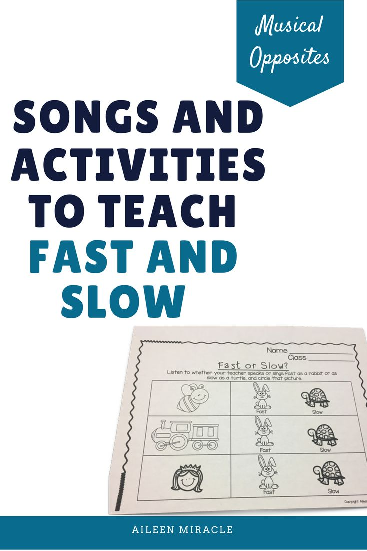 Songs and activities to teach fast and slow: Visuals, songs, assessments, and more for Kindergarten music!